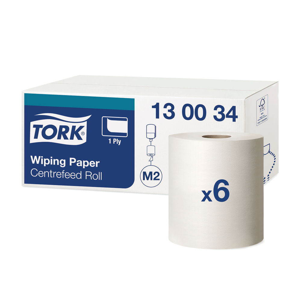Tork QuickDry Wiping Paper 1-Ply 471 Sheets White (Pack of 6) 130034