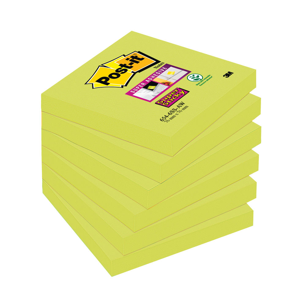 Post-it 76 x 76mm Asparagus Super Sticky Notes, Pack of 6 | 654-6SS-AW