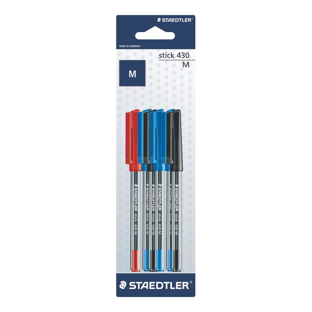 Staedtler 430 Assorted Medium Ballpoint Pen, Pack of 60 - 430MSBK6D