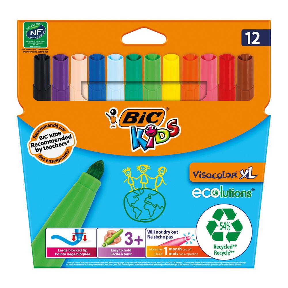 Bic Kids Visa XL Assorted Colours Felt Tip Pens (Pack of 12) - 829007