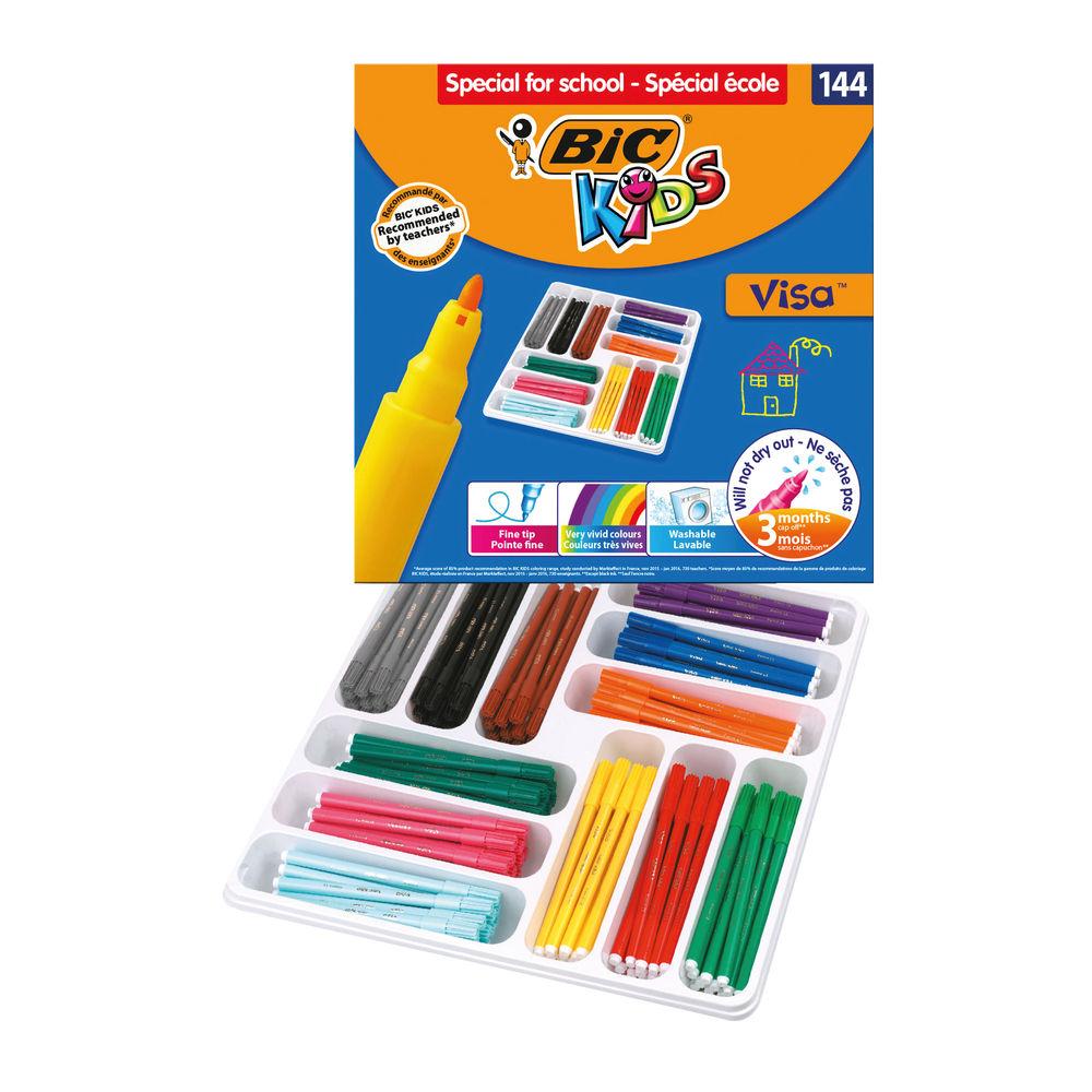 Bic Kids Visa Felt Tip Pens Fine Tip Assorted (Pack of 144) 887838