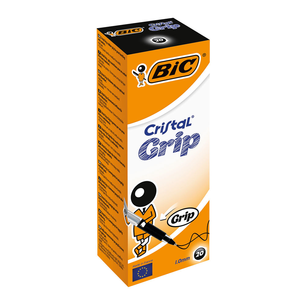 BIC Cristal Grip Medium Black Ballpoint Pens, Pack of 20 - 802800