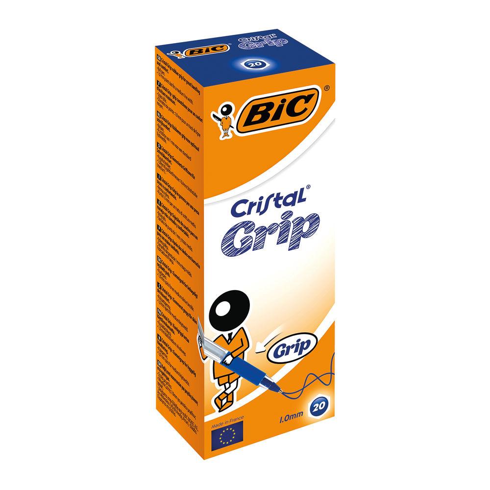 BIC Cristal Grip Blue Medium Ballpoint Pens, Pack of 20 - 802801