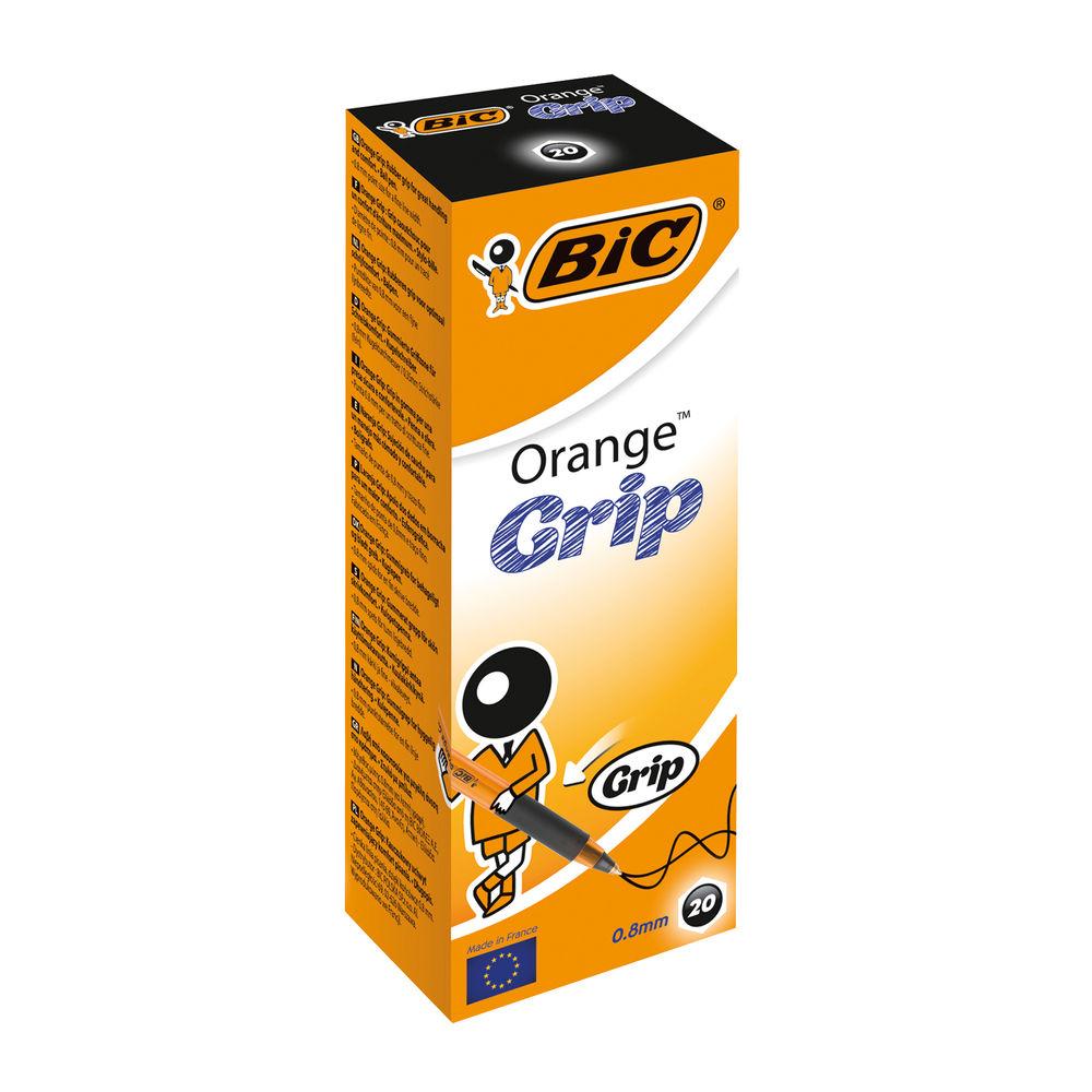 BIC Fine Black Cristal Grip Orange Ballpoint Pens, Pack of 20 - 811925