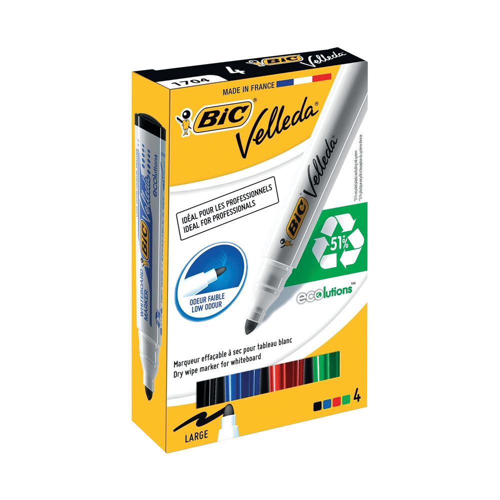 BIC Velleda Assorted Bullet Tip Whiteboard Markers, Pack of 4 - 1199001704