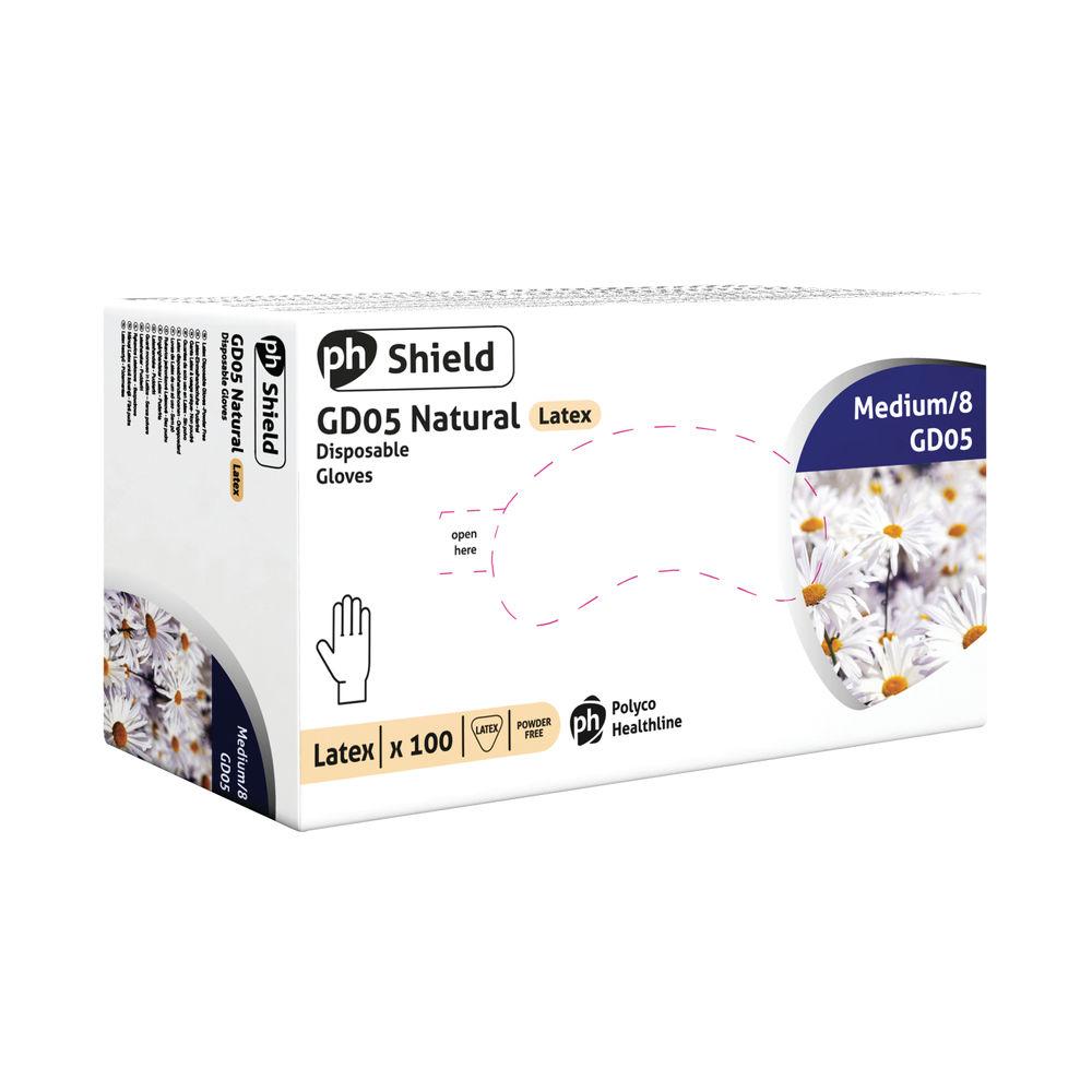 Shield Medium Natural Powder-Free Latex Gloves, Pack of 100 - GD05
