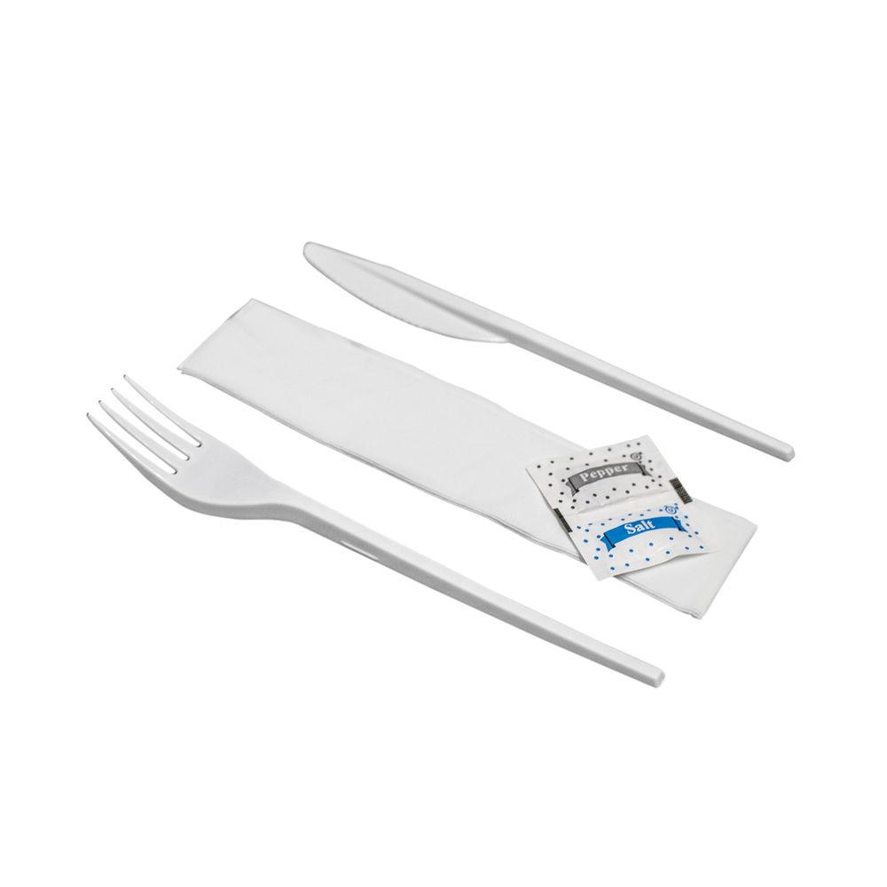 Knife Fork Napkin Salt Pepper Meal Pack (Pack of 250) MEALPACK5