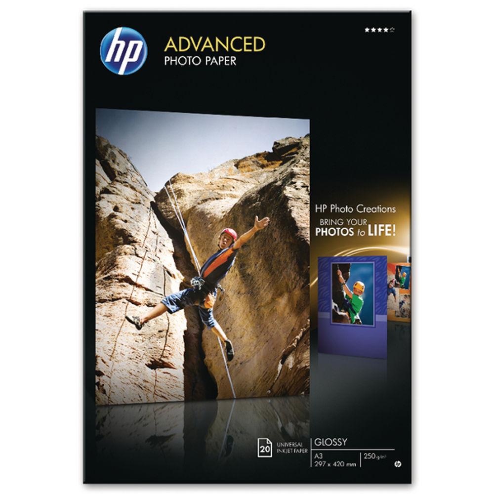 HP Advanced White A3 Glossy Photo Paper, 250gsm - 20 Sheets - Q8697A