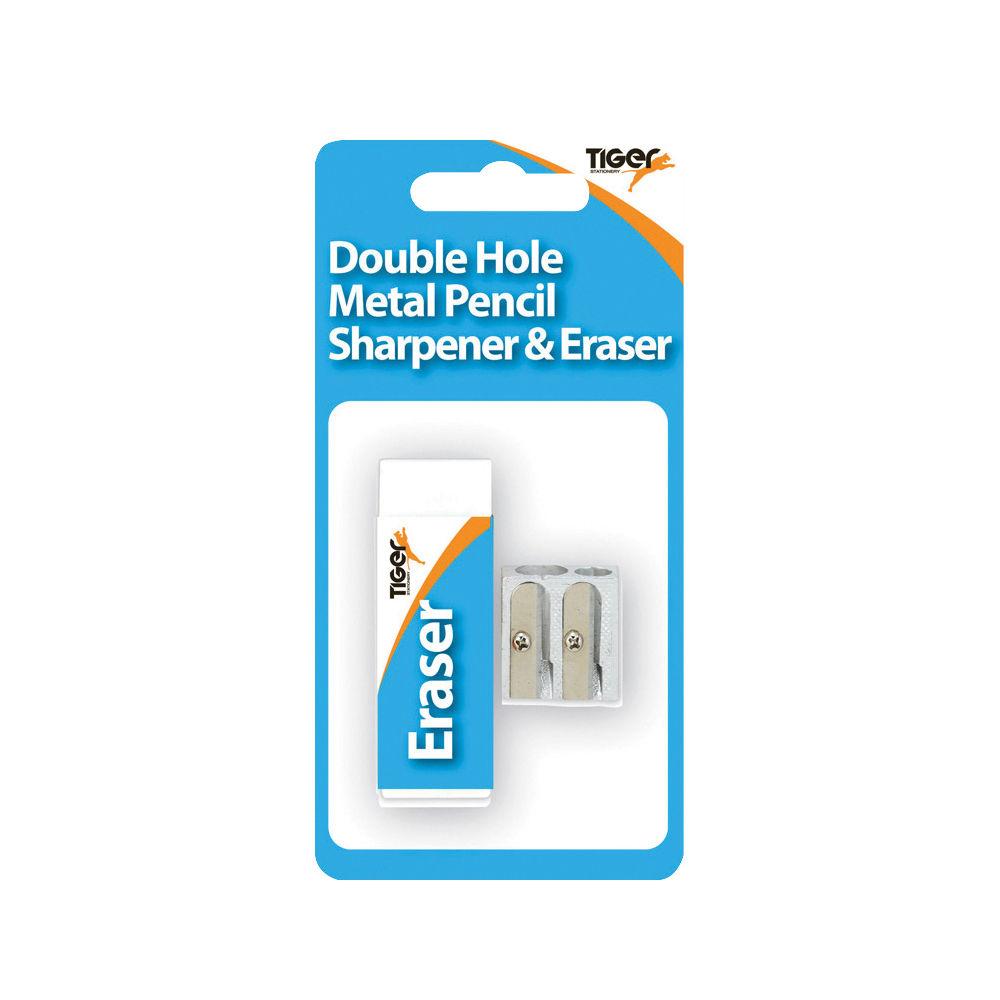 Tiger Metal Double Hole Sharpener and Eraser Set, Pack of 12 - 302023