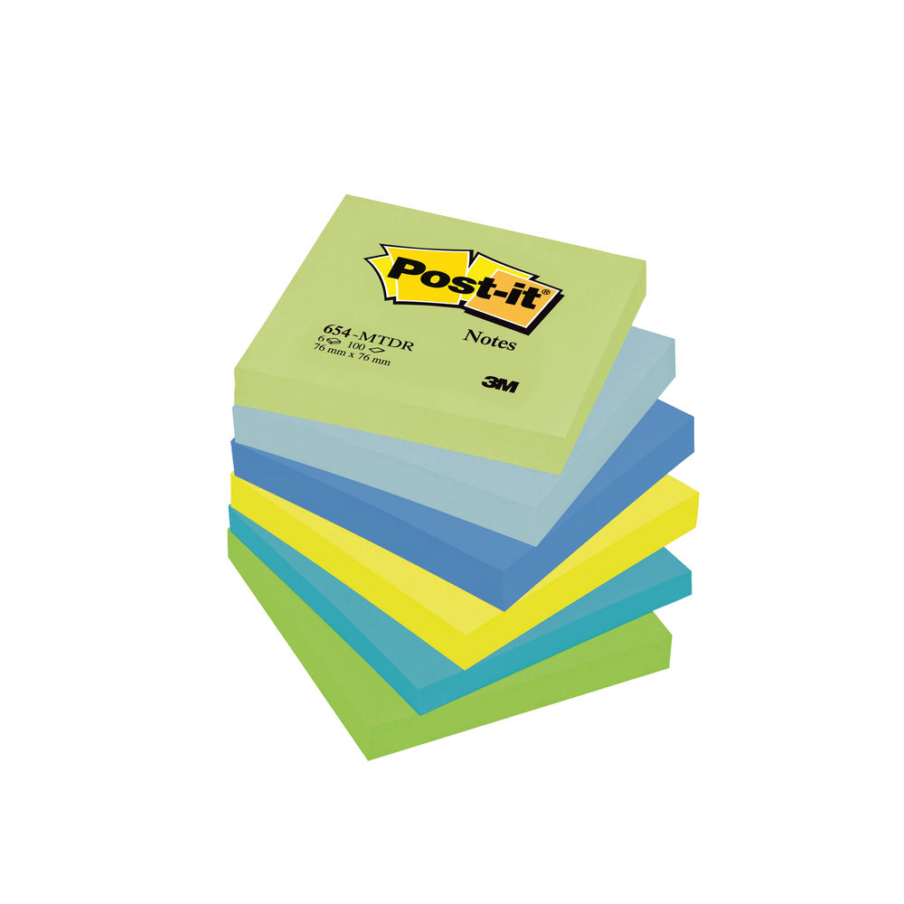 Post-it 76 x 76mm Dream Colours Notes, Pack of 6 | 654MT