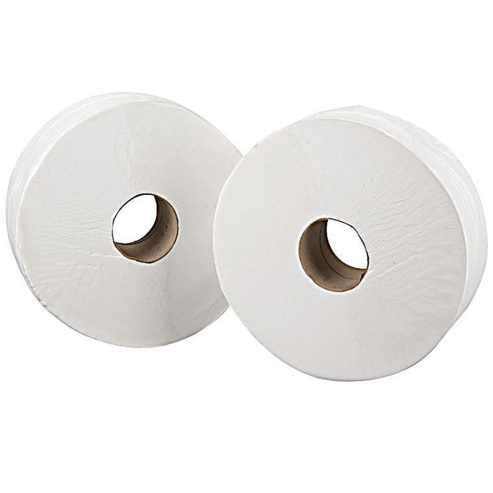 2Work White 2-Ply Jumbo Toilet Rolls - 76mm Core, Pack of 6 - J27410