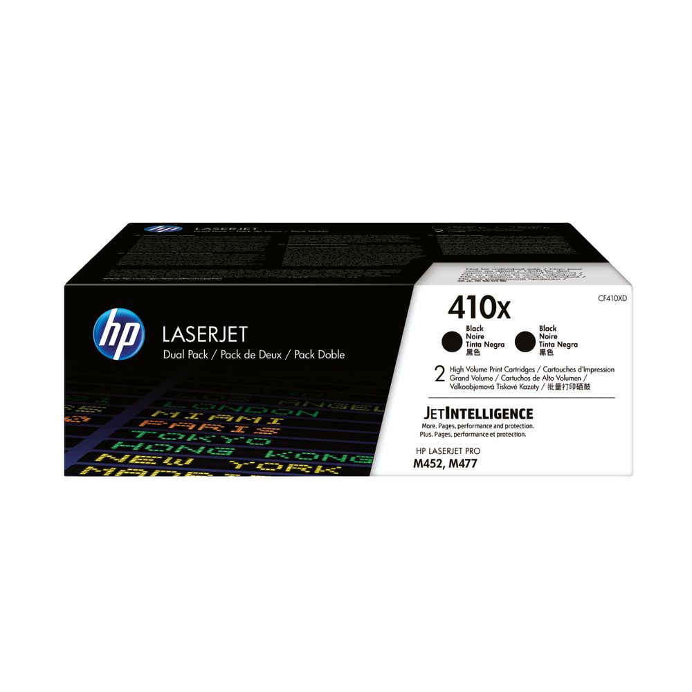 HP 410X Black High Yield Laserjet Toner Cartridge, Pack of 2 - CF410XD
