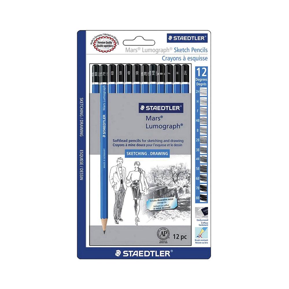 Staedtler Mars Lumograph Sketch Pencils (Pack of 12) - 100-F
