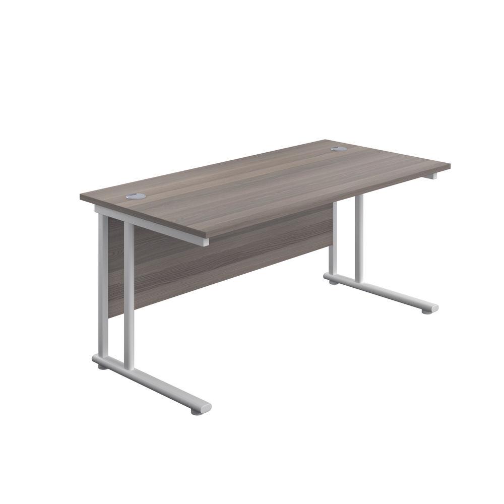 Jemini 1600 x 600mm Grey Oak/White Cantilever Rectangular Desk
