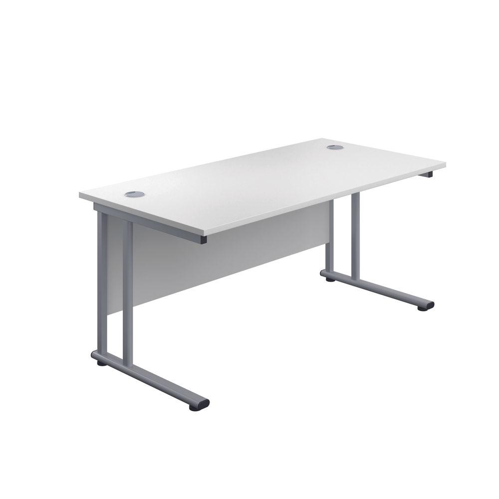 Jemini 1600x800mm White/Silver Cantilever Rectangular Desk