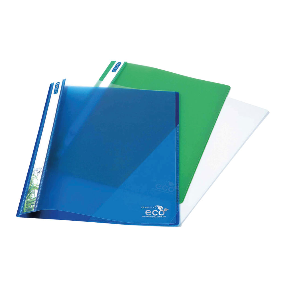 Rapesco Assorted Eco A4 PP Report File, Pack of 10 - 1099