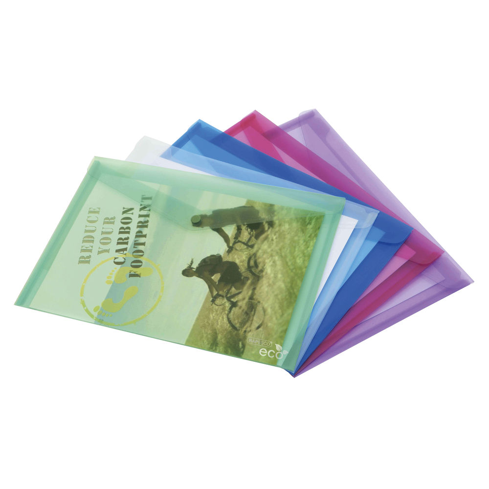 Rapesco Assorted Eco A3 PP Popper Wallet, Pack of 5 - 1041