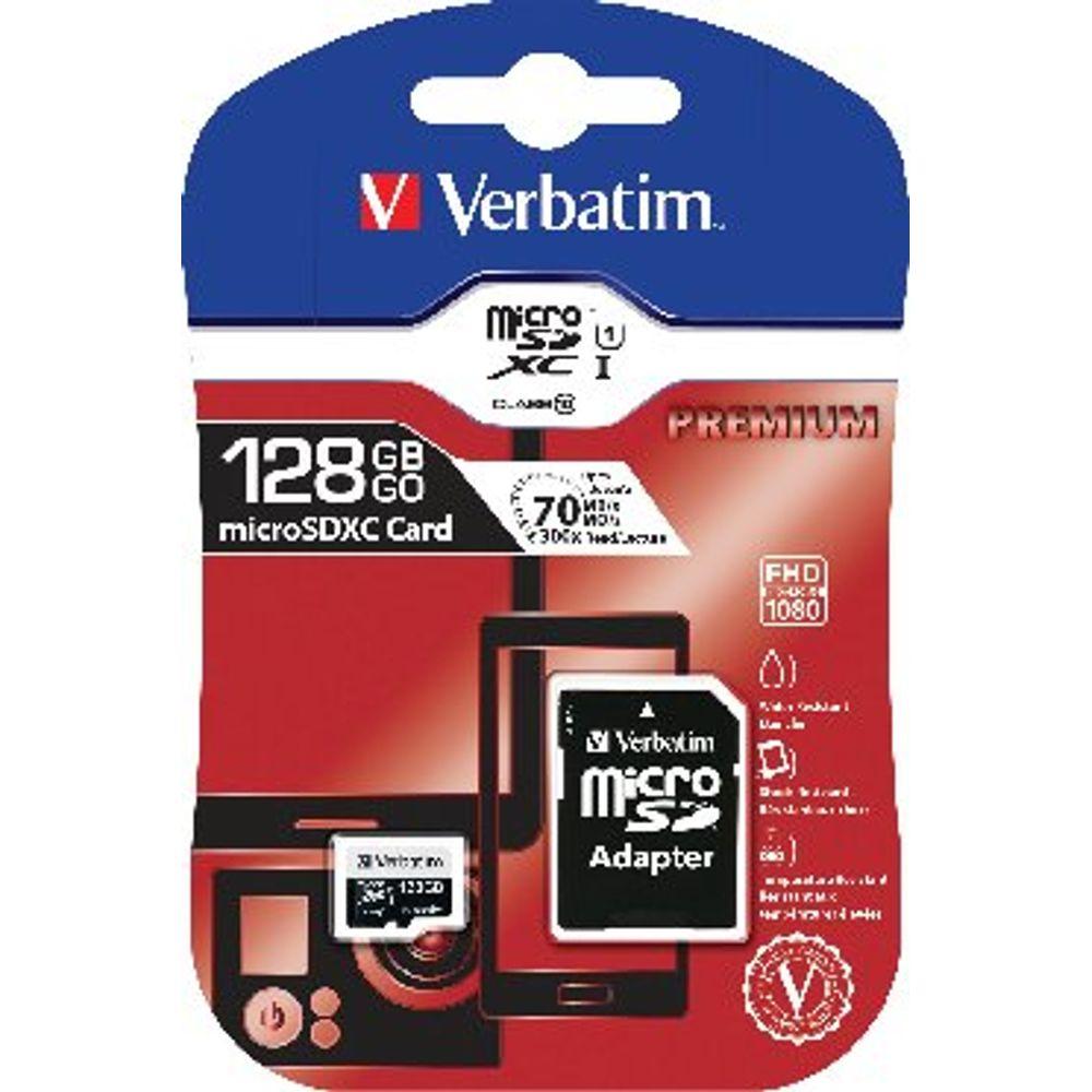 Verbatim Premium 128GB SDXC Micro Card with Adapter - 44085