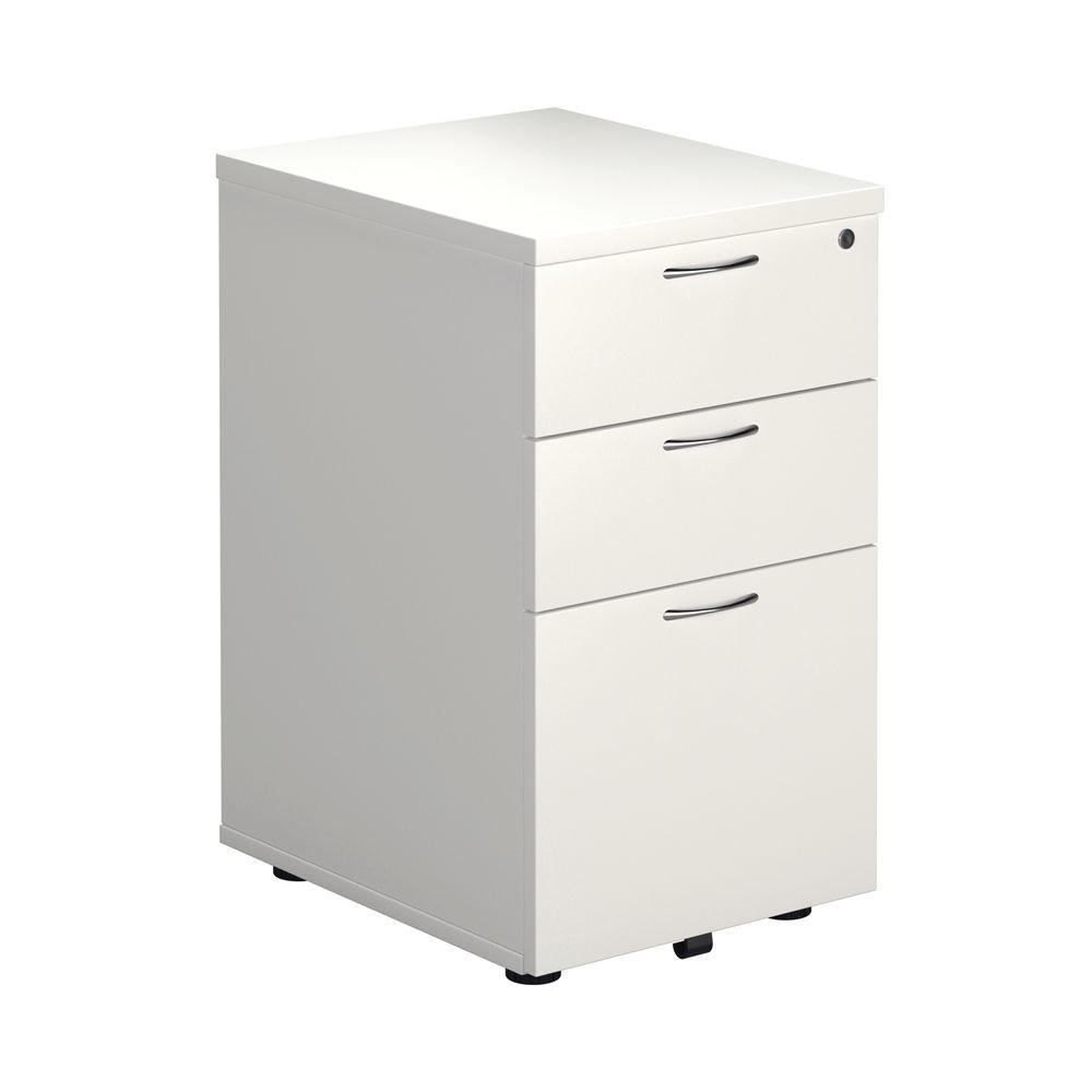 First Tall Under Desk Pedestal 3 Drawer in White