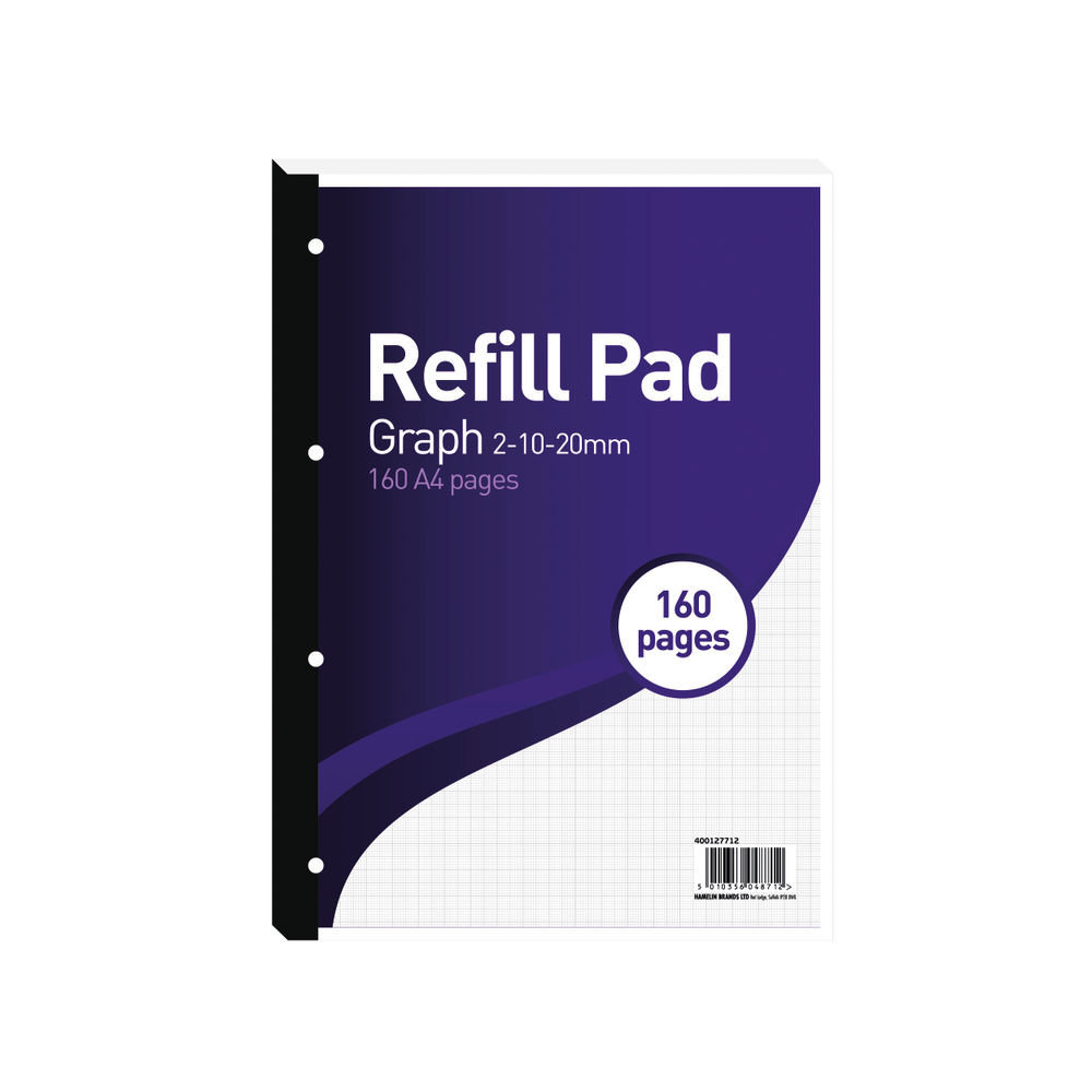 Hamelin 2-10-20mm A4 Graph Paper Refill Pad, Pack of 5 - A4RPX
