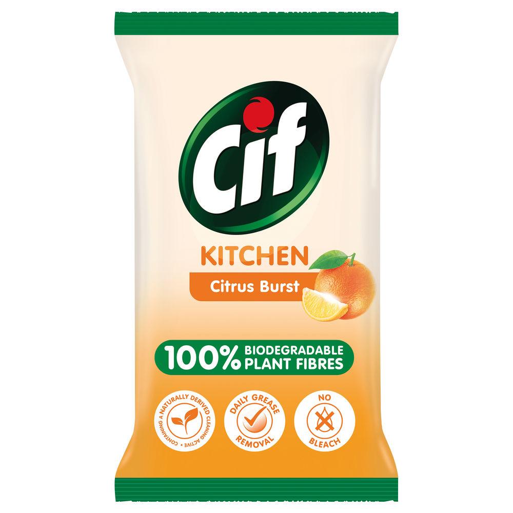 Cif Biodegradable Citrus Burst Kitchen Wipes, Pack of 6 - C001709