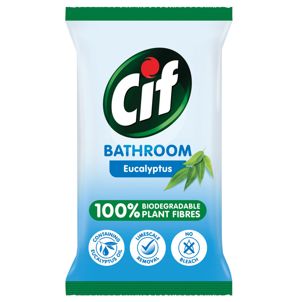 Cif Biodegradable Eucalyptus Bathroom Wipes, Pack of 6 - C001710
