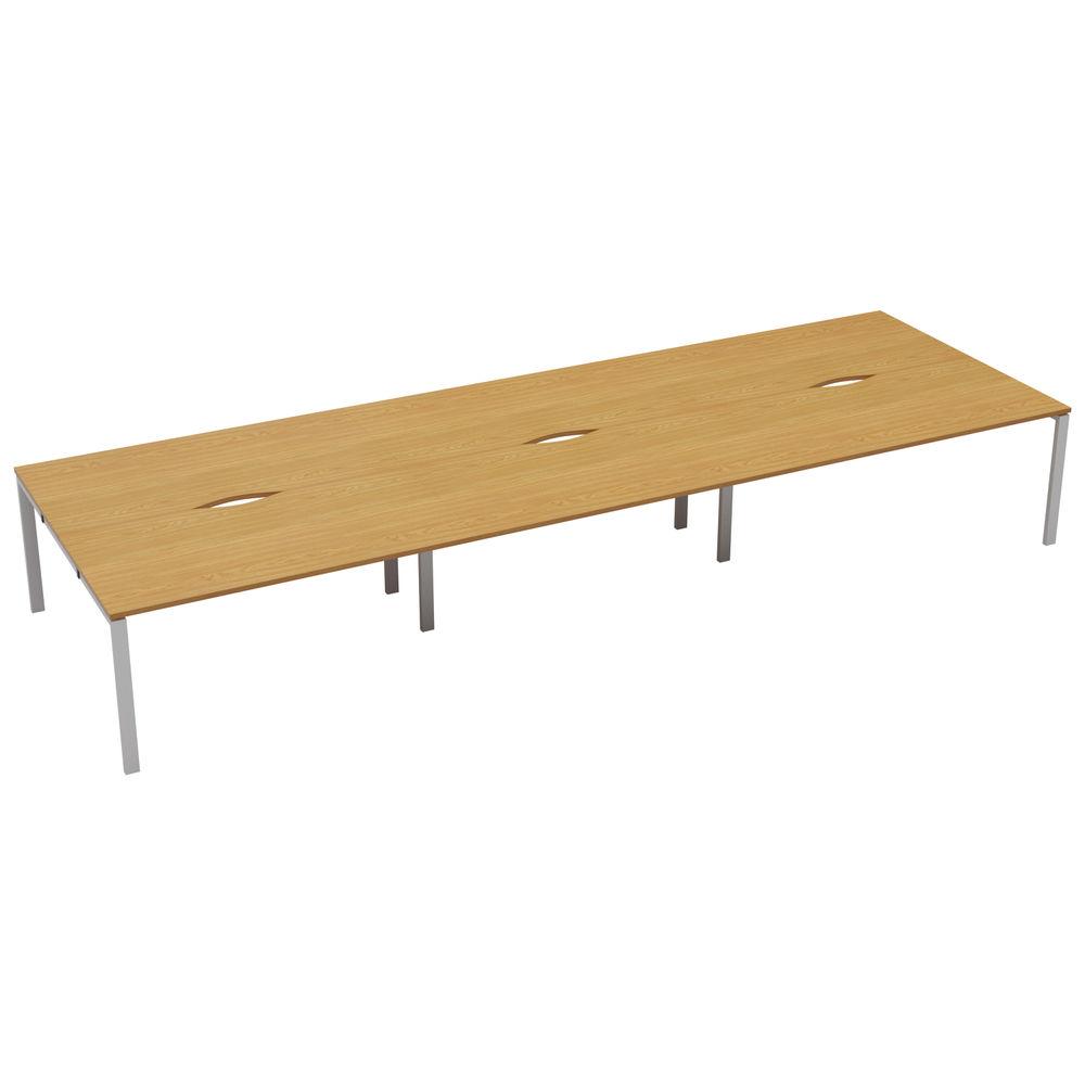 Jemini 1600mm Nova Oak/White Six Person Bench Desk