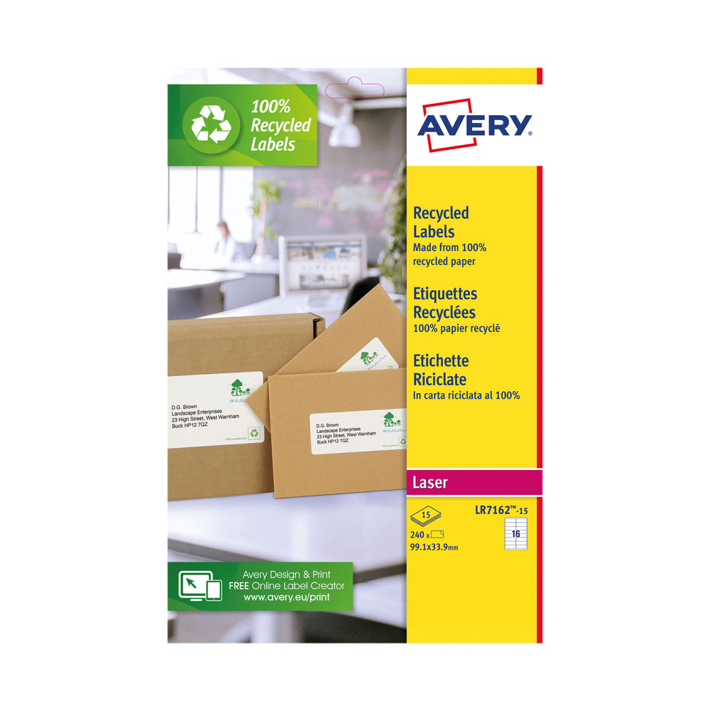 Avery Recycled Address Labels 16/Sheet White (Pack of 240) LR7162-15