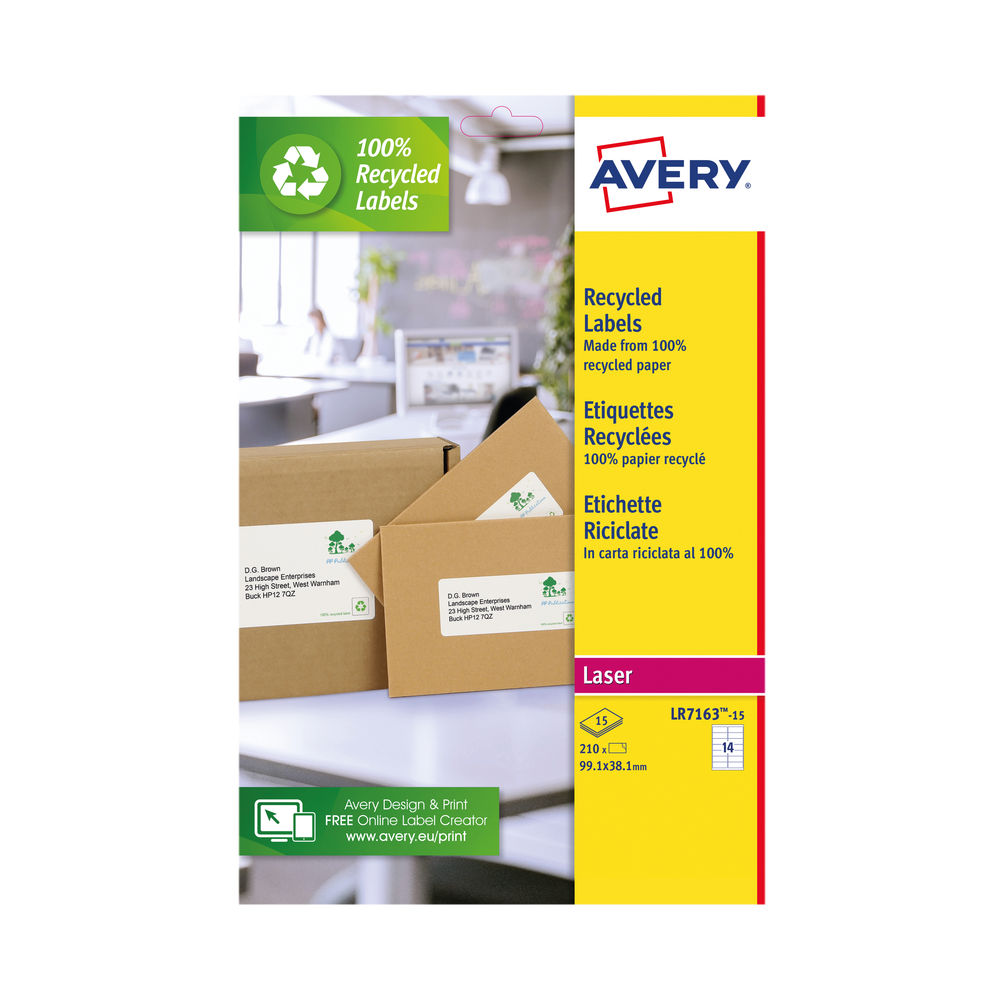 Avery Recycled Address Labels 14/Sheet White (Pack of 210) LR7163-15