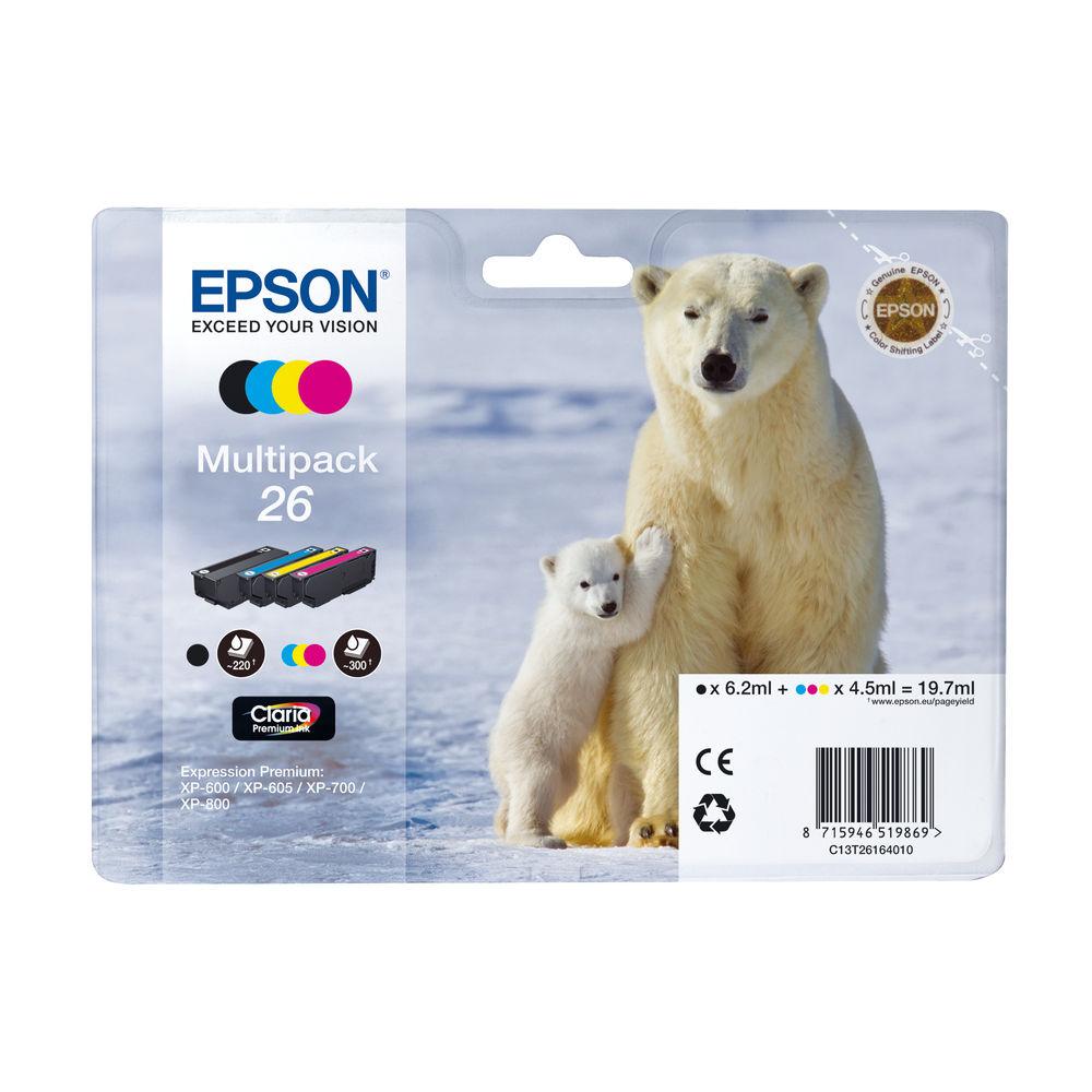 Epson 26 CMYK Ink Cartridge Multipack - C13T26164010