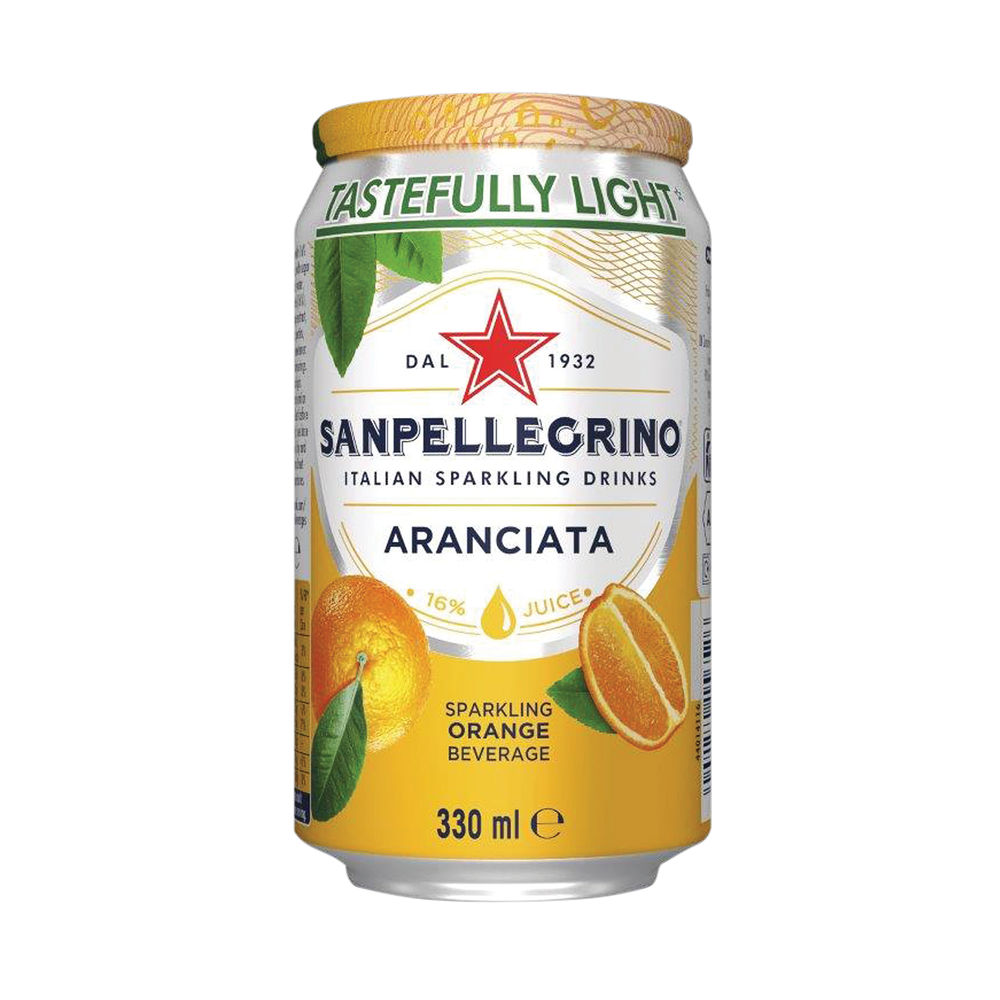 San Pellegrino Sparkling Aranciata Orange 330ml Cans, Pack of 24 | 12166832