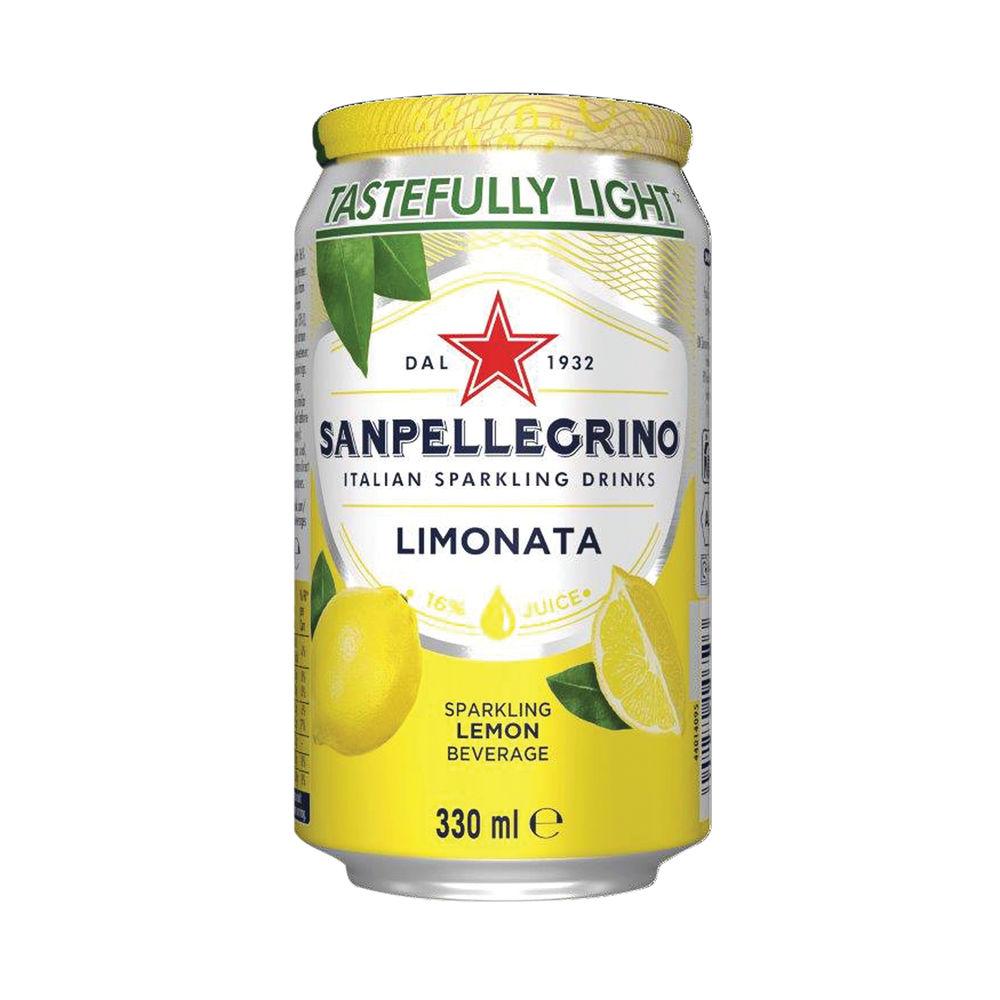 San Pellegrino Limonata Lemon 330ml Cans, Pack of 24 - 12441800