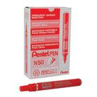 Pentel N50 Bullet Tip Red Permanent Marker Pens, Pack of 12 - N50-B