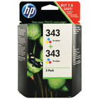 HP 343 Tri-Colour Ink Cartridge Twin Pack - CB332EE
