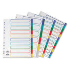 Concord A4 Polypropylene 10 Part Plain Multicoloured Tabs Index Dividers - 06901