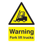Safety Sign Warning Fork Lift Trucks A5 PVC HA23851R