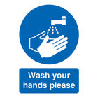 Wash Your Hands Please A5 Self-Adhesive Safety Sign - MD05851S