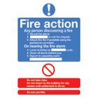 Fire Action Standard A5 Self-Adhesive Safety Sign - FR03551S
