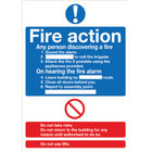 Fire Action Words A4 Self-Adhesive Safety Sign - FR03550S