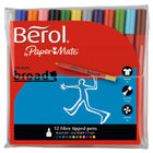 Berol Assorted Broad Fibre Felt Tipped Pens, Pack of 12 - S0375410