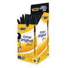 BIC Fine Cristal Transparent Black Ballpoint Pens, Pack of 50 - BC13448