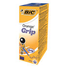 BIC Fine Blue Cristal Grip Orange Ballpoint Pens, Pack of 20 - 811926