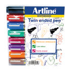Artline 2-in-1 Bullet/Chisel Tip AssortedWhiteboard Markers  (Pack of 8) EK525TA