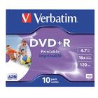 Verbatim DVD+R 16x 4.7GB InkJet Printable Spindle, Pack of 10 - 43508