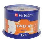Verbatim 4.7GB 16x Speed Printable DVD-R Spindle, Pack of 50 | 43533