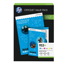 HP 953 XL Colour Ink Cartridge and Paper Value Pack - High Capacity 1CC21AE