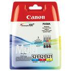 Canon CLI-521 Cyan/Magenta/Yellow Ink Cartridge Multipack - 2934B007