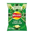 Walkers Salt and Vinegar Crisps, Pack of 32 - 121795