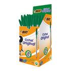 BIC Medium Green Cristal Transparent Ballpoint Pens, Pack of 50 - BC76246