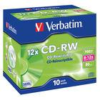 Verbatim 700MB 12x Speed CD-RW Jewel Case, Pack of 10 | 43148
